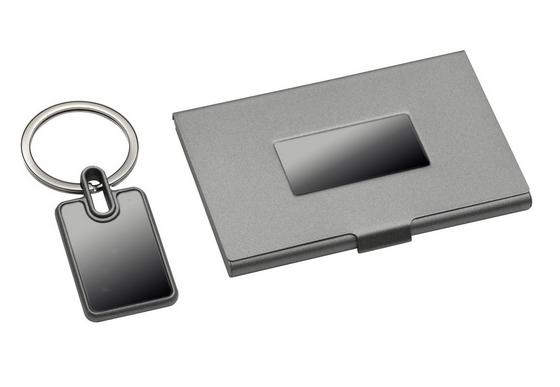 Geschenkset Visitenkartenbox Metall Brandmarkl
