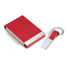 Geschenkset Visitenkartenbox Rot
