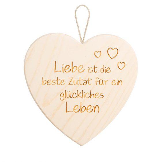 Spruchschild Herz Liebe ist die beste Zutat