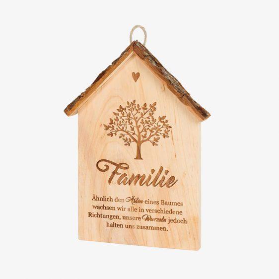 Spruchschild Rindenhaus Familie
