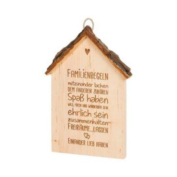 """Spruchschild Rindenhaus – """"Familienregeln"""""""