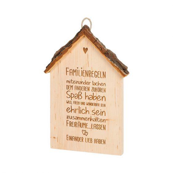 Spruchschild Rindenhaus Familienregeln
