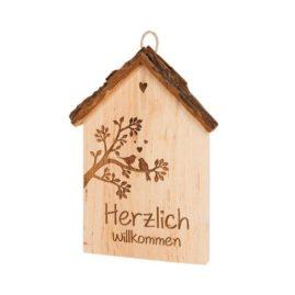 """Spruchschild Rindenhaus – """"Herzlich willkommen"""""""