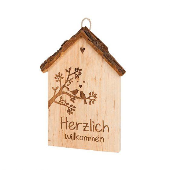 Spruchschild Rindenhaus Herzlich Willkommen